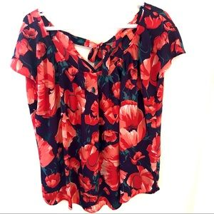 Joe fresh bow tie back flowy floral ruched blouse